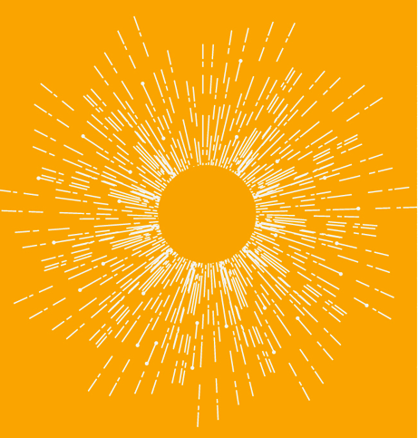a simple sunburst design, yellow on an orange background