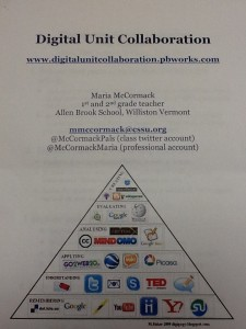 The front cover of Maria McCormack's podcasting handout, featuring her name and contact information. Title: Digital Unit Collaboration